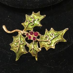 Liz Claiborne Enamel & Red Stone Holly Pin